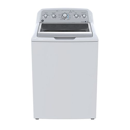 GE 5.0 Cu. Ft. Top Load Washer with Stainless Steel Drum in White