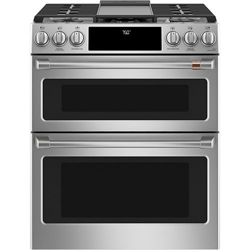 Café 30-inch Slide-In Gas Double Oven with Convection Range in Stainless Steel