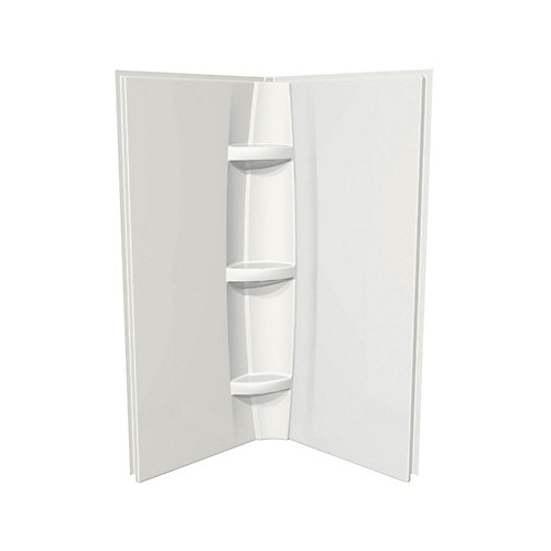 38-inch x 2-inch x 72-inch 2-Piece Direct-to-Stud Shower Wall System in White