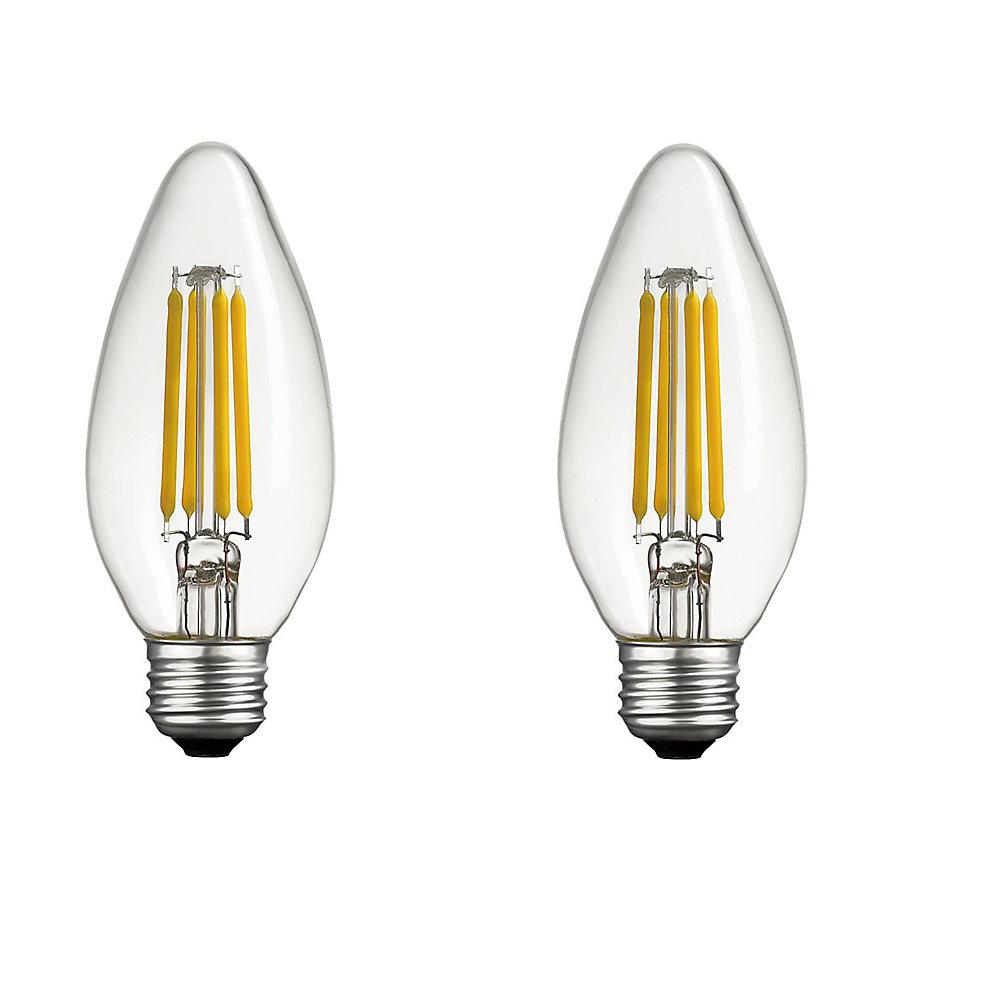 Ampoule DEL B11 candélabre gradable équivalente à un éclairage de jour de 40W, paquet de 2, Base E26