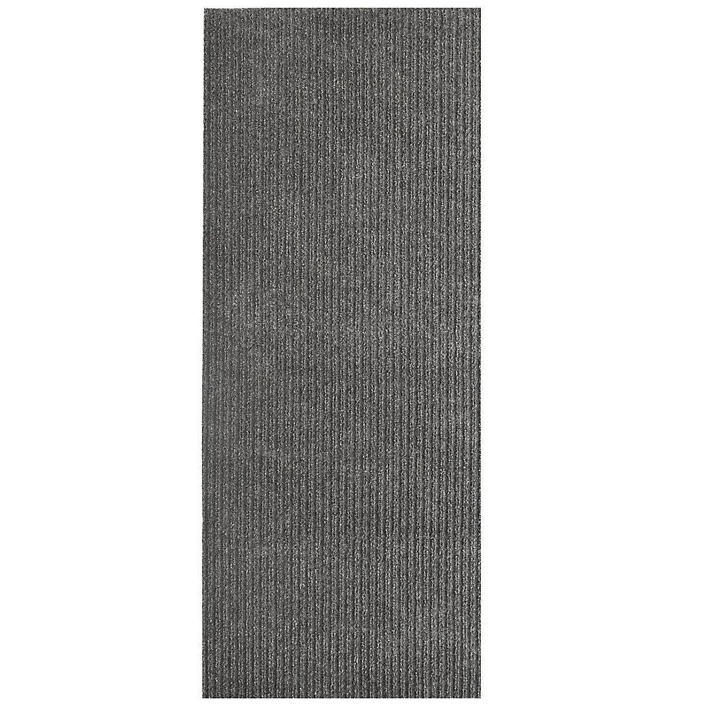 Tapis d'interieur/extérieur rectangulaire, 4 pi x 40 pi, Siamese, gris