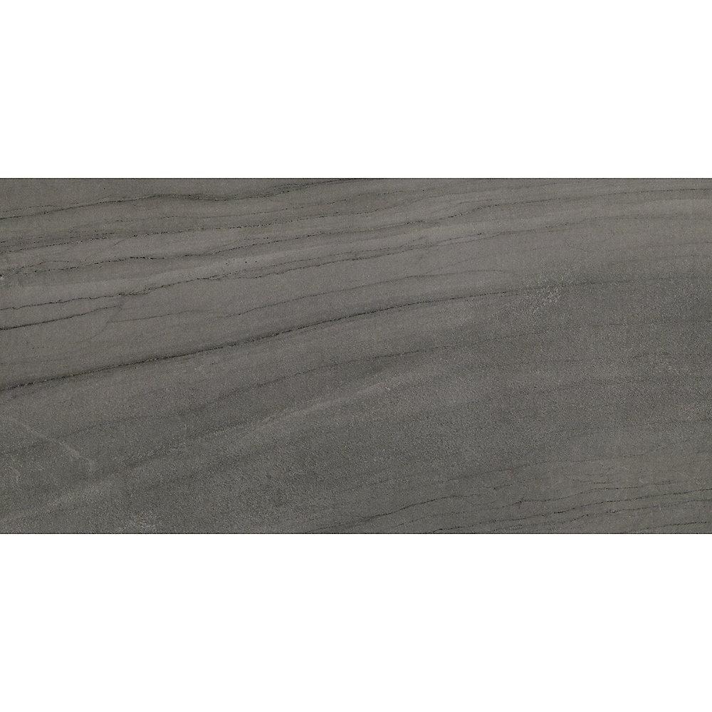 Carreaux pour mur et sols, Euro Anthracite, 12 po x 24 po, 14.42 pi2 / caisse, porcelaine, gris