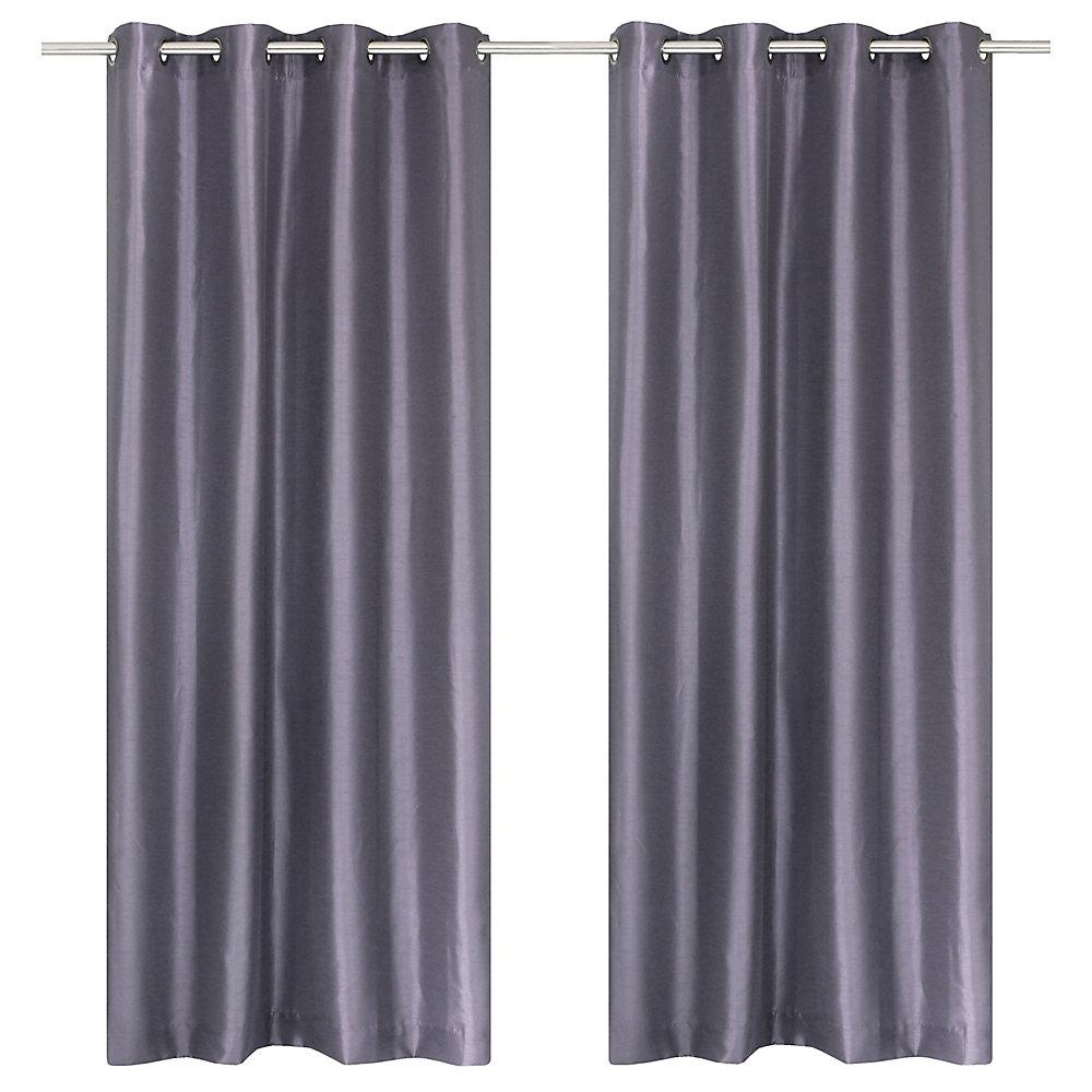 Silkana ensemble de 2 rideaux à illets en fausse soie, 56 x 88 po, lilas