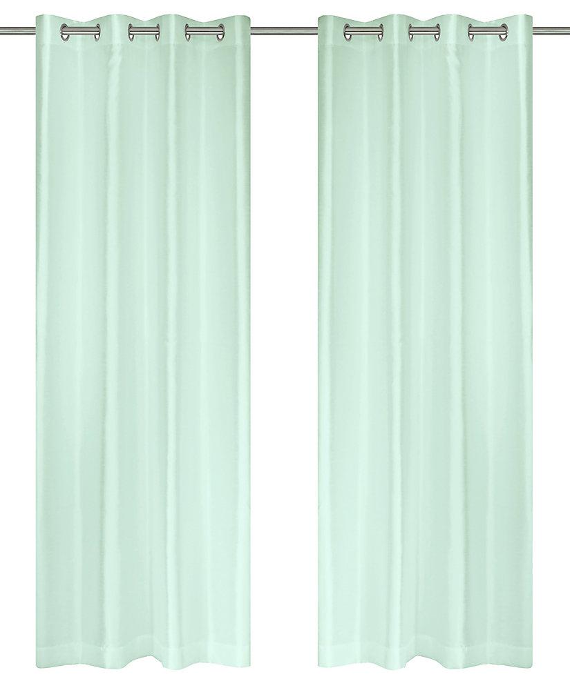 Silkana ensemble de 2 rideaux à illets en fausse soie, 56 x 88 po, menthe verte