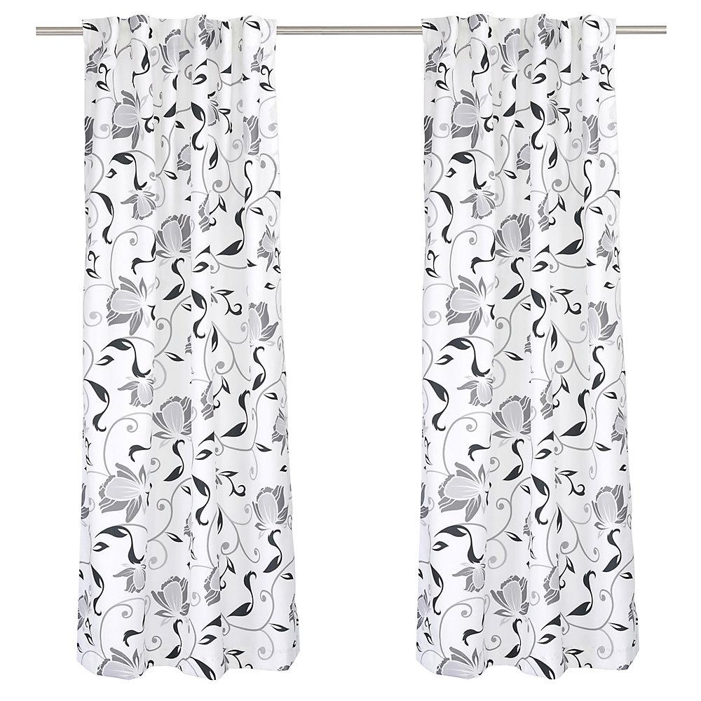 Hilla ensemble de 2 rideaux à motifs floraux avec des ganses cachées, 54 x88 po, blanc/noir/gris