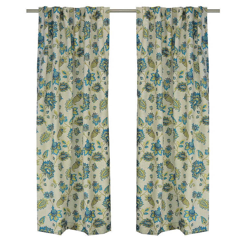 Renee ensemble de 2 rideaux à motifs floraux avec des ganses cachées, 54 x88 po, lin/bleu/jaune