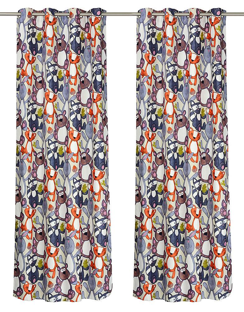 Forest Friends ensemble de 2 rideaux à illets motif animaux, 52 x 95 po, blue/orange/vert