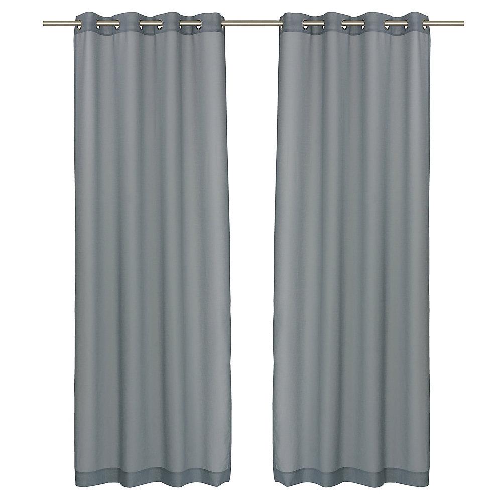 Aura ensemble de 2 rideaux à illets transparents, 54 x 95 po, gris bleu
