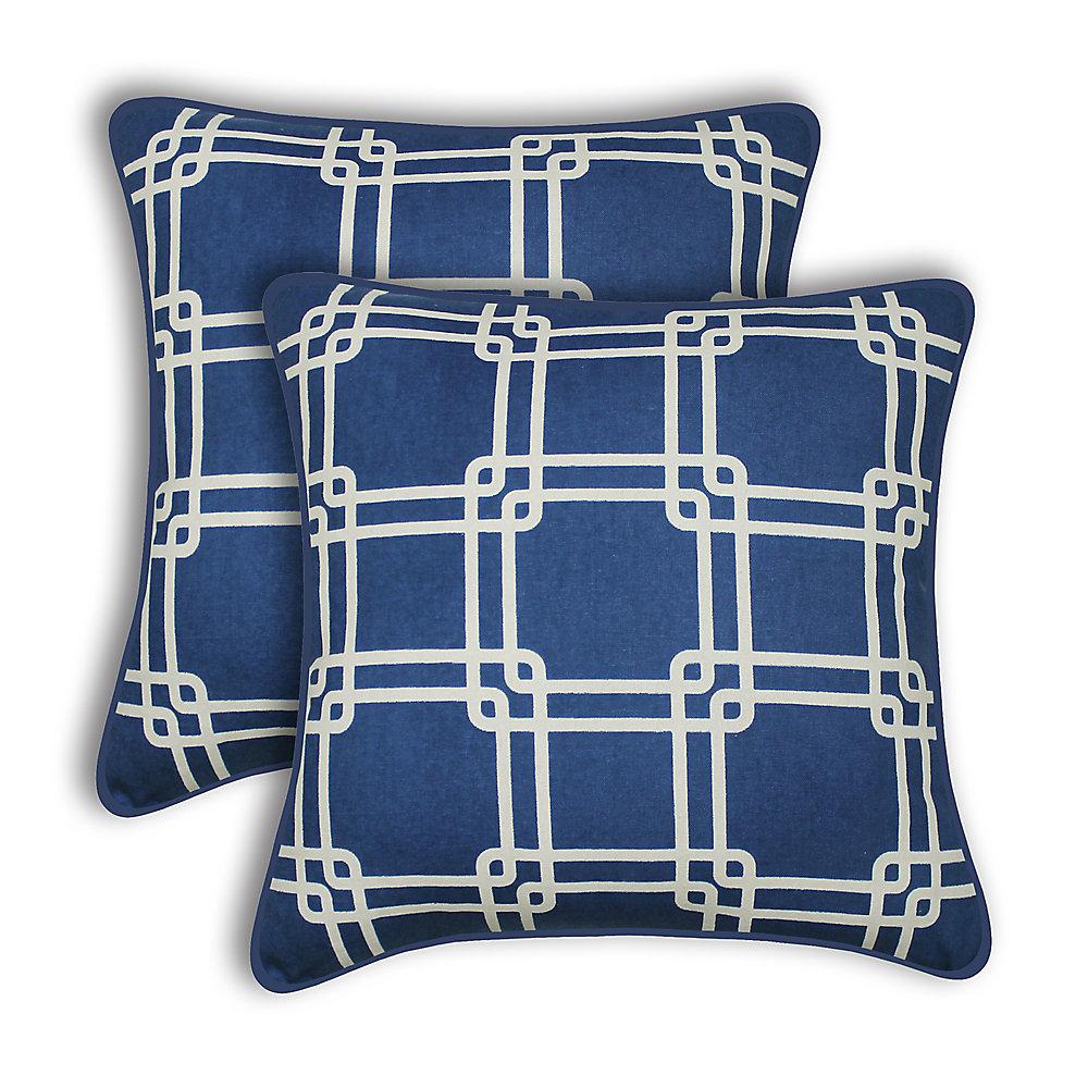 Coussin décoratif Payson en bleu (paquet de 2)