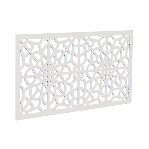 Decorative screen panel 2x4 - fretwork - white