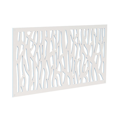 Decorative screen panel 2x4 - sprig - white