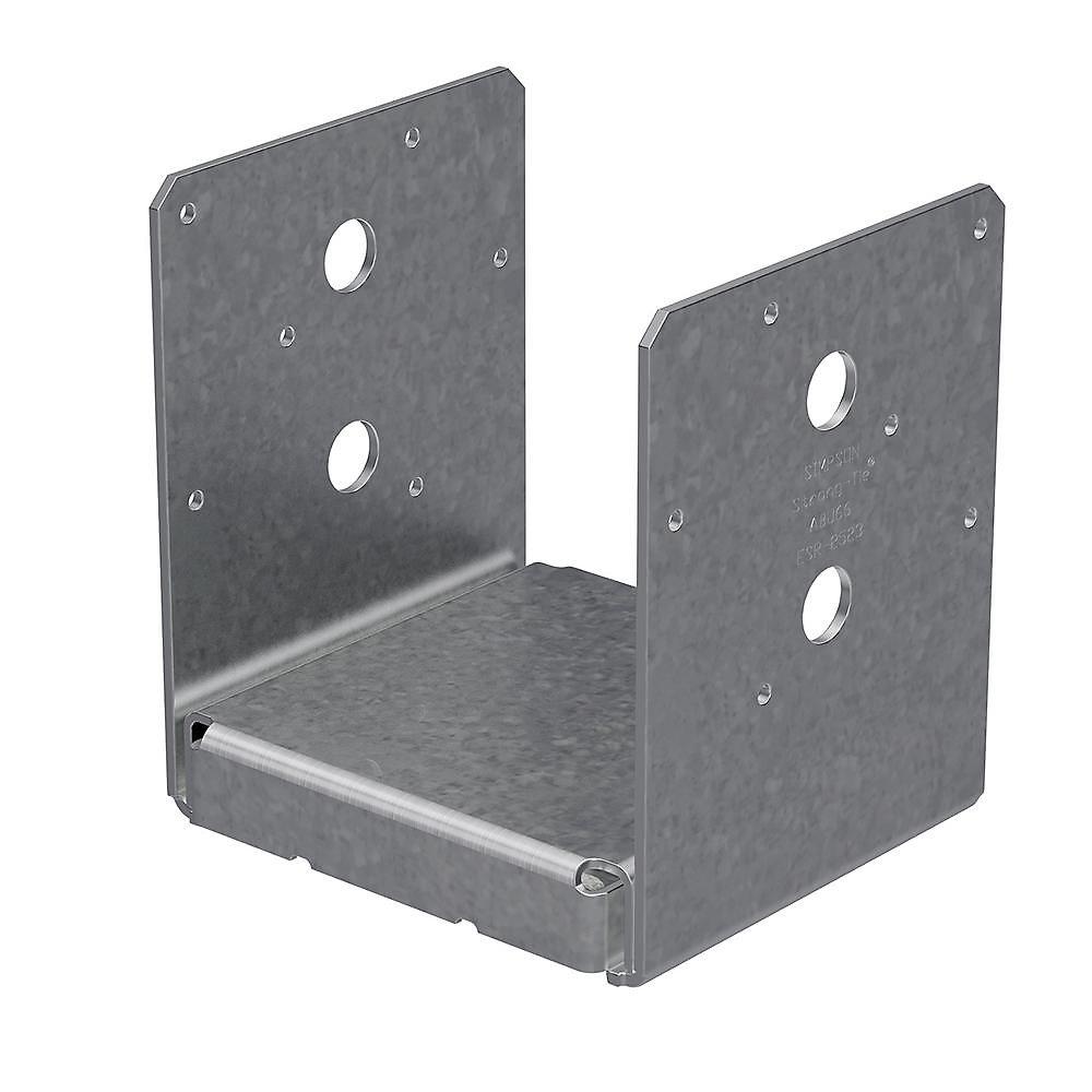Base de poteau ABU galvanisée ZMAX avec dégagement réglable pour 6x6 brut
