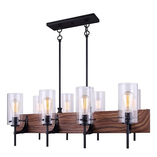 Canarm Arlie 8-Light Matte Black and Faux Wood Chandelier with Clear Glass Shades