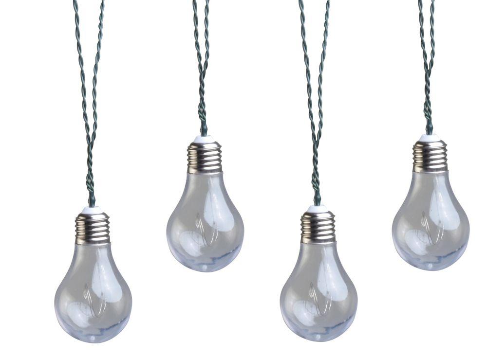 Moonrays Solar Powered Clear LED Vintage Bulb String Lights