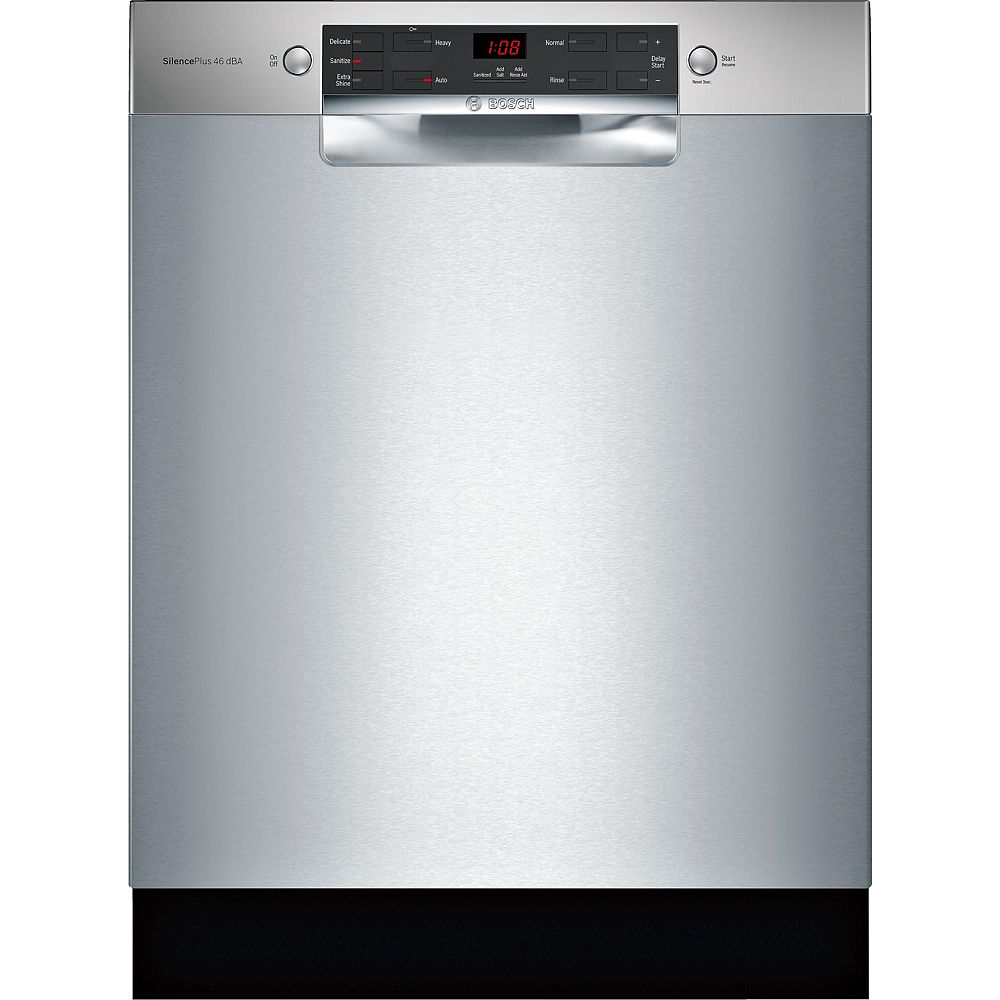 Bosch 300 Series Front Control 3-Rack 4-Cycle Recessed Handle Dishwasher in Stainless Steel