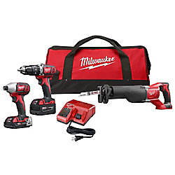 M18 18V Brushed Cordless Combo Kit (3-Tool) with (2) Batteries