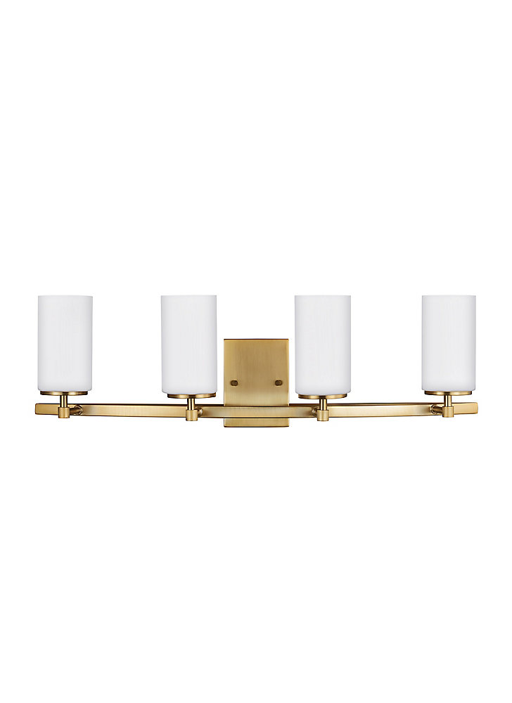 Lumière Alturas fixée au mur à quatre ampoules avec abat-jour blanc, Fini bronze