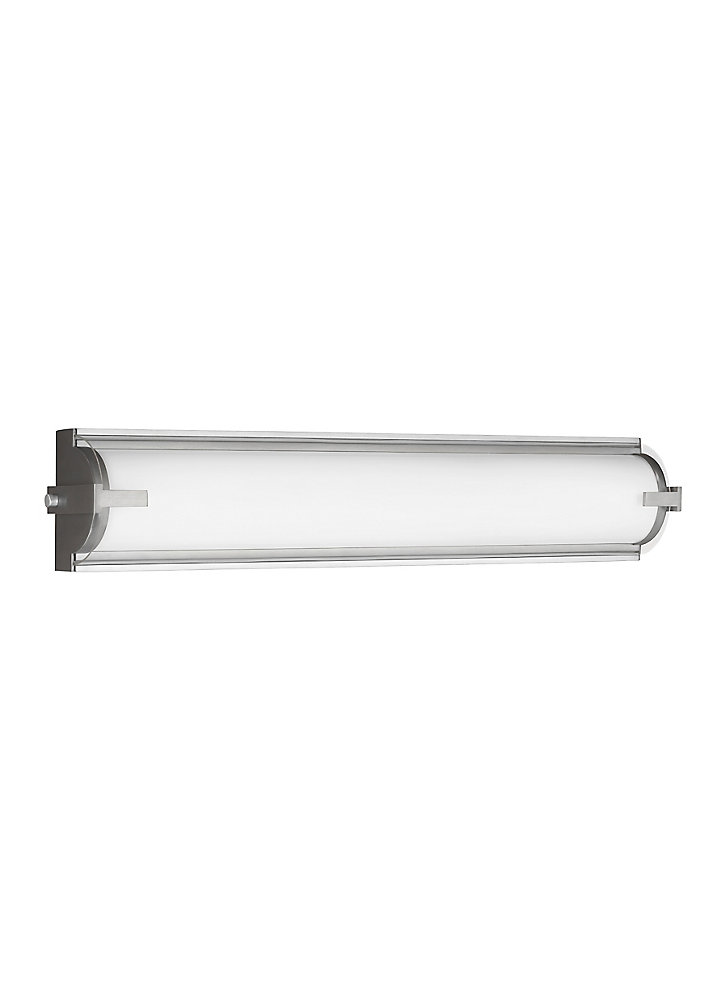 Lumière Braunfels fixée au mur à deux ampoules avec abat-jour clair, Fini argent
