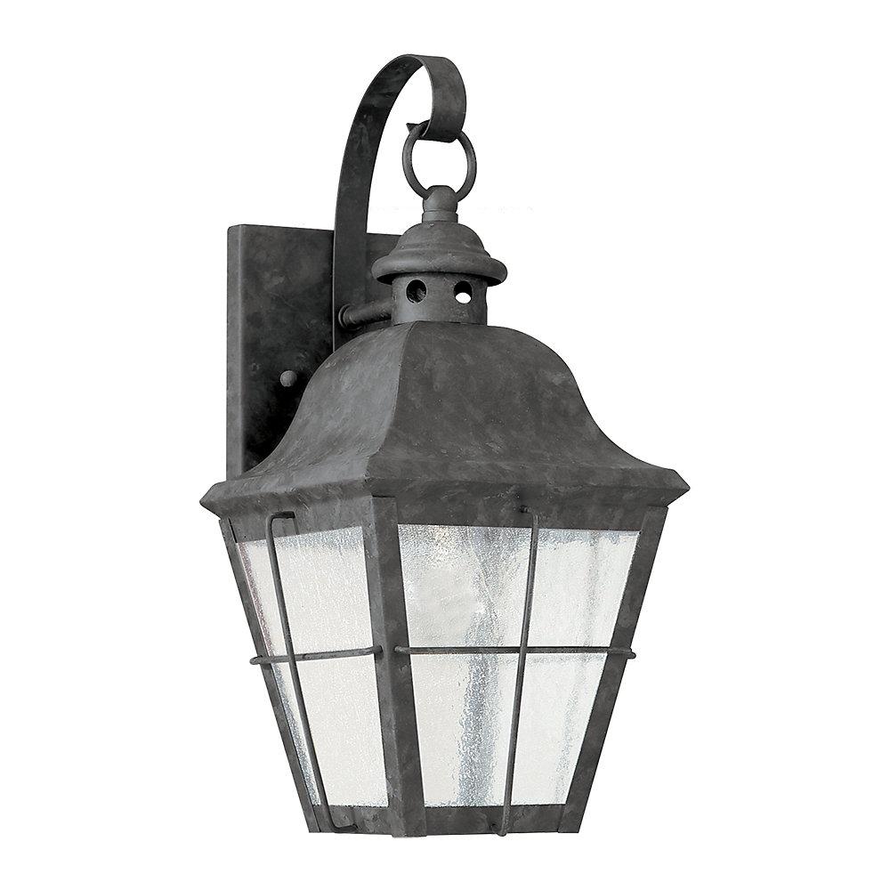Lumière Chatham fixée au mur à une ampoule avec abat-jour clair, Fini bronze