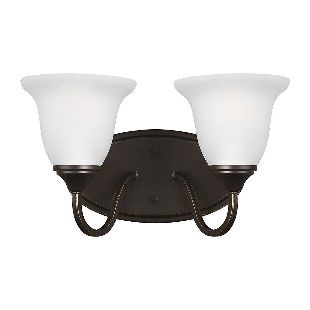 Lumière Clement fixée au mur à deux ampoules avec abat-jour blanc, Fini bronze