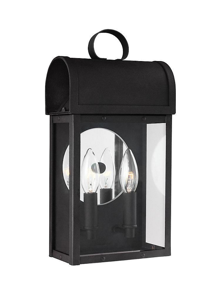 Lumière Conroe fixée au mur à deux ampoules avec abat-jour clair, Fini noir - Energy Star
