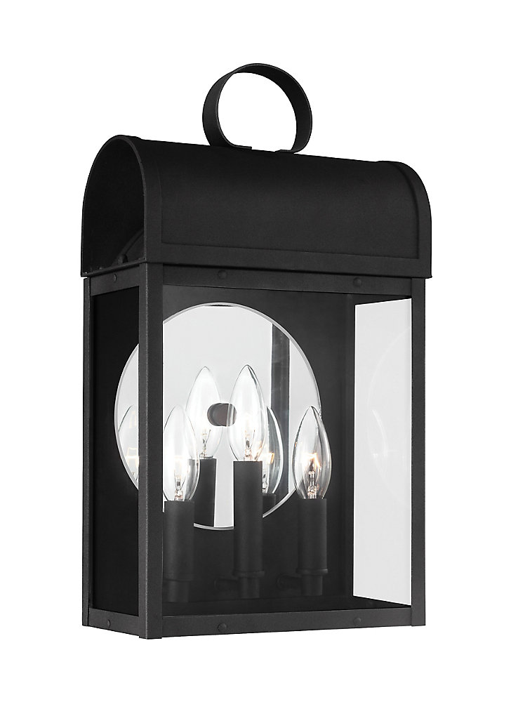 Lumière Conroe fixée au mur à trois ampoules avec abat-jour clair, Fini noir