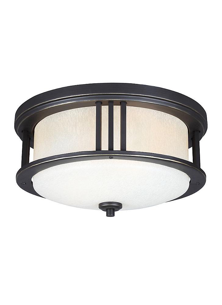 Plafonnier Crowell à deux ampoules avec abat-jour blanc, Fini bronze
