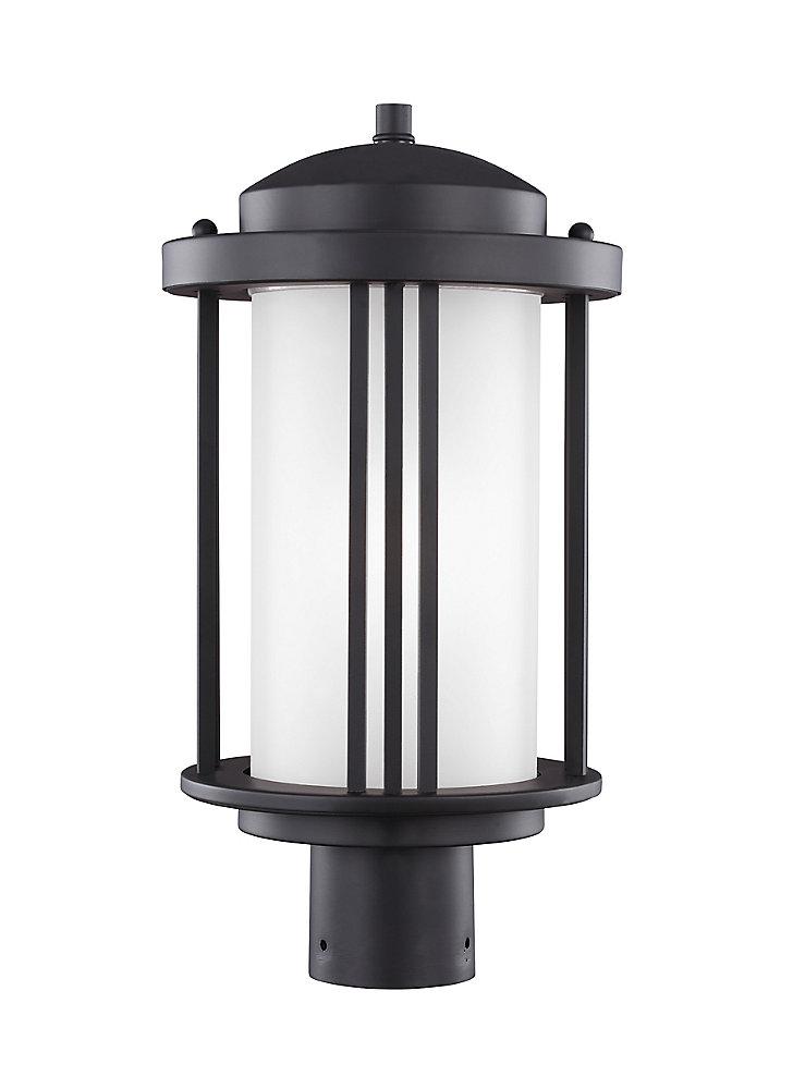 Pilier monture lumière Crowell à une ampoule avec abat-jour blanc, Fini noir - Energy Star