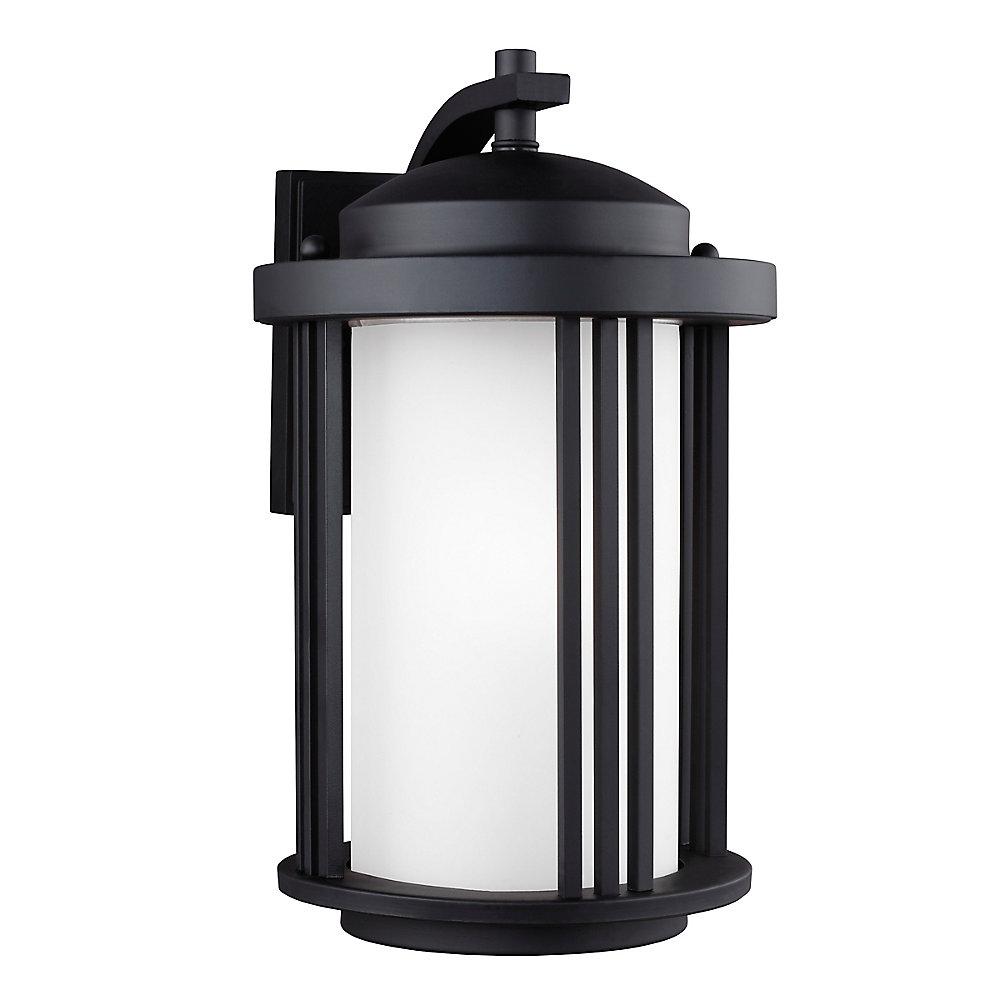Lumière Crowell fixée au mur à une ampoule avec abat-jour blanc, Fini noir - Energy Star, 9 inchse