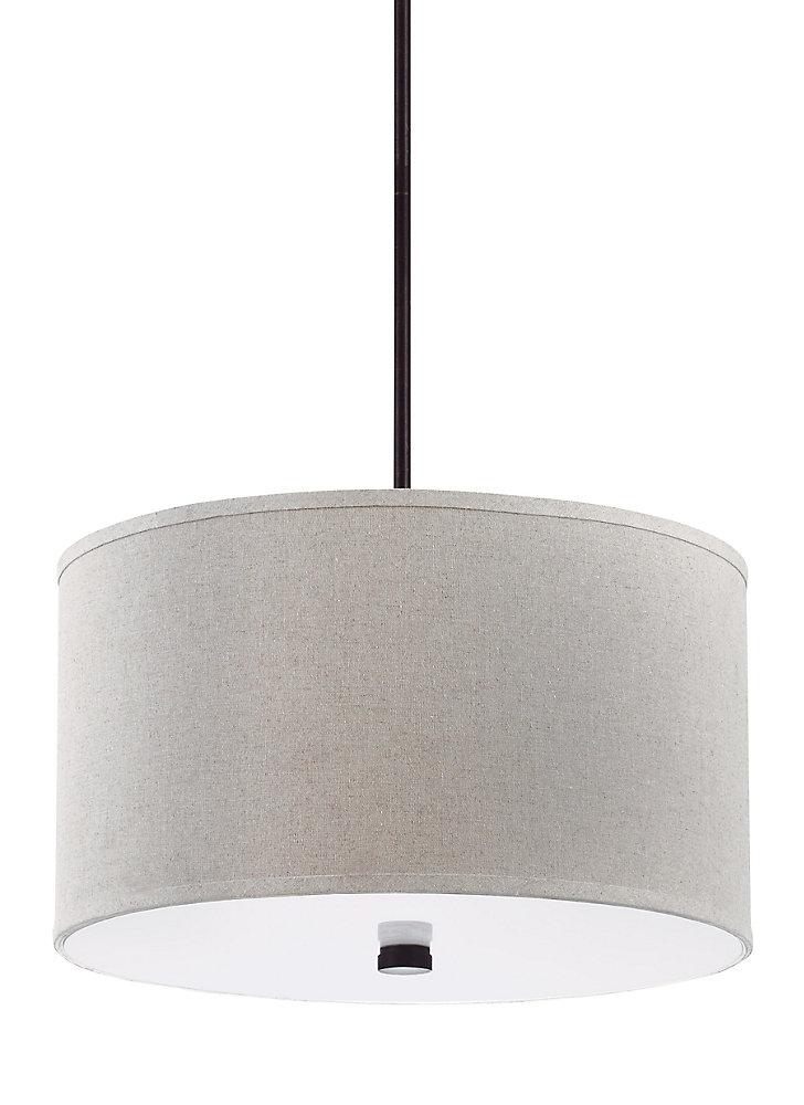 Lustre Dayna Shade Pendants à trois ampoules avec abat-jour blanc, finition de spécialité