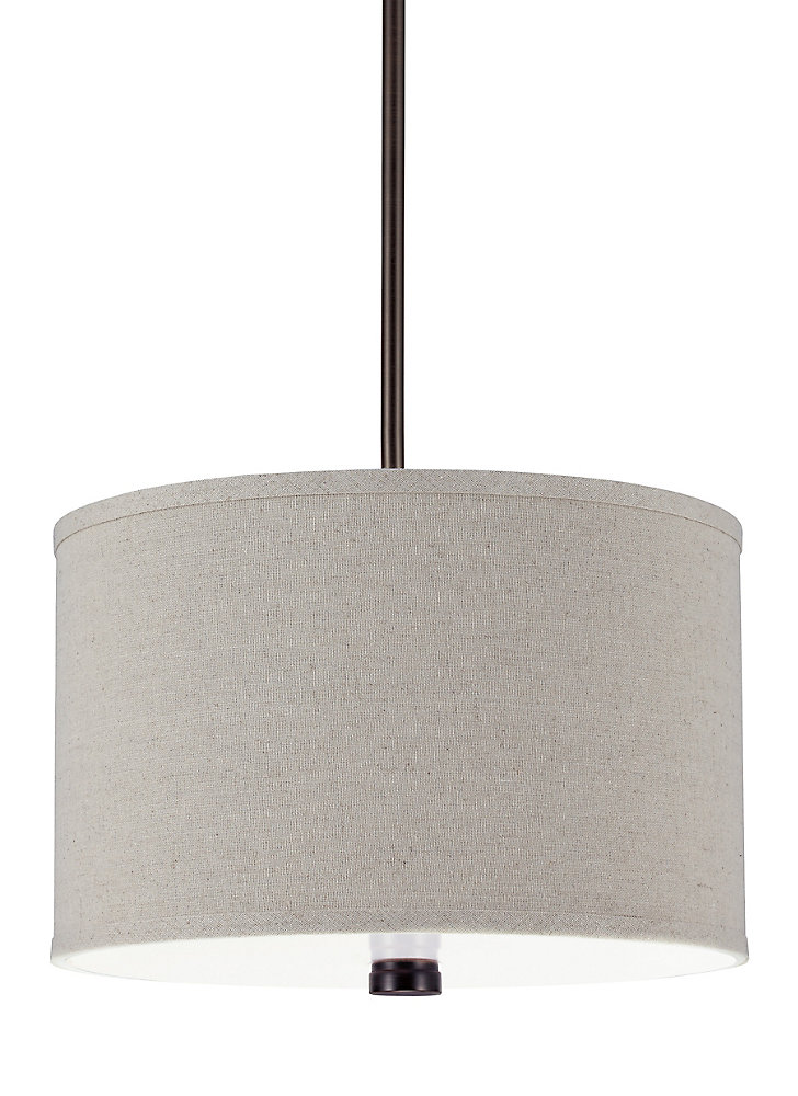 2-Light Burnt Sienna Pendant with White Acrylic Diffuser and Linen Fabric Shade - Energy Star