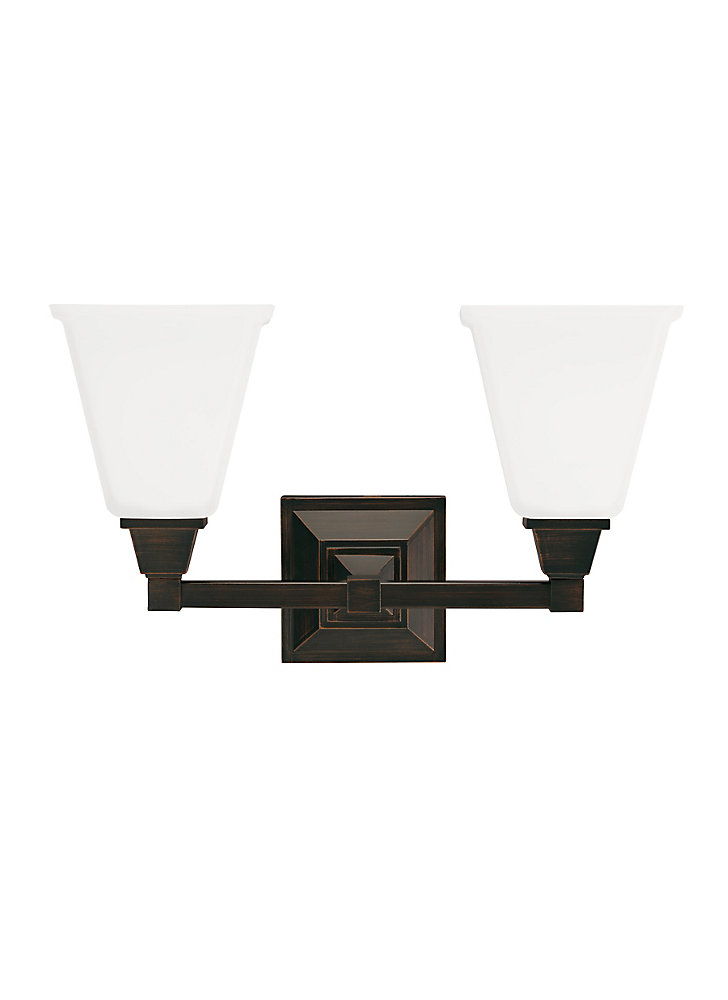Denhelm 2-Light Burnt Sienna Bath Light with Etched and White Inside Glass - Energy Star