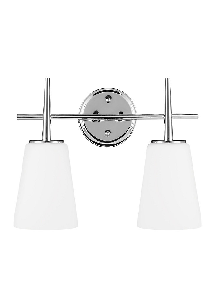 Driscoll 2-Light Chrome Bath Light with Cased Opal Etched Glass - Energy Star