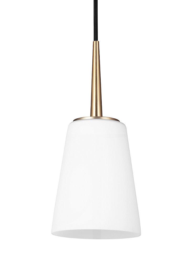 Lustre Driscoll à une ampoule avec abat-jour blanc, Fini bronze
