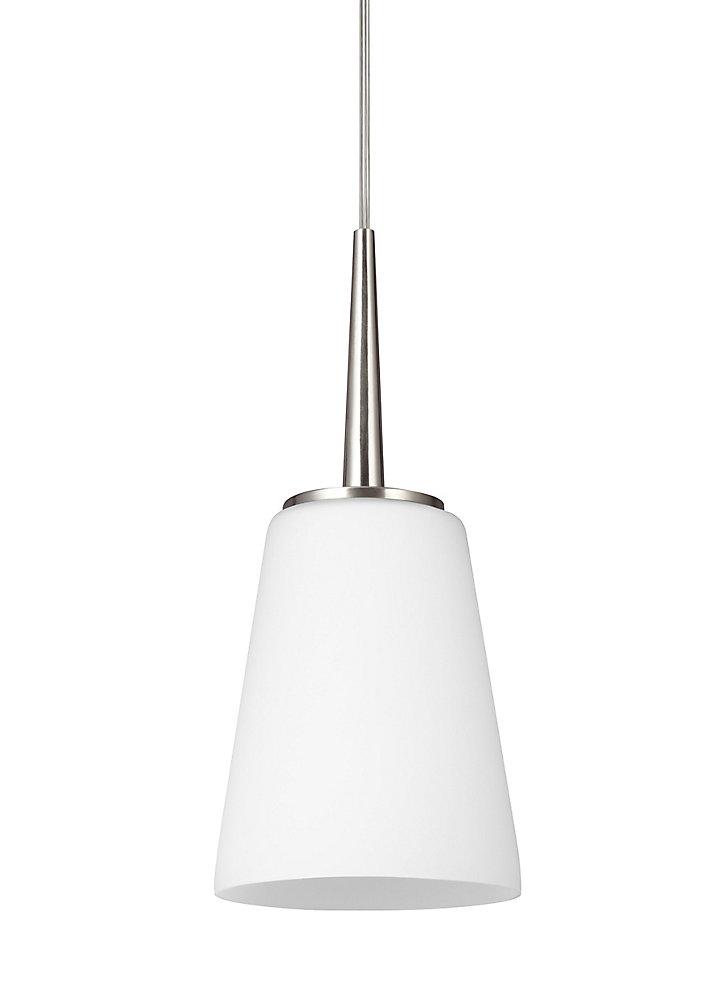 Lustre Driscoll à une ampoule avec abat-jour blanc, Fini argent - Energy Star