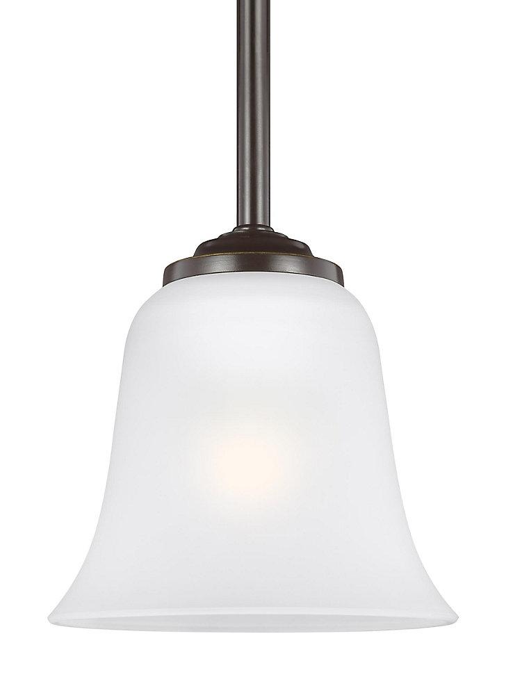 Lustre Emmons à une ampoule avec abat-jour blanc, Fini bronze