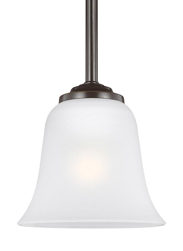 Lustre Emmons à une ampoule avec abat-jour blanc, Fini bronze - Energy Star