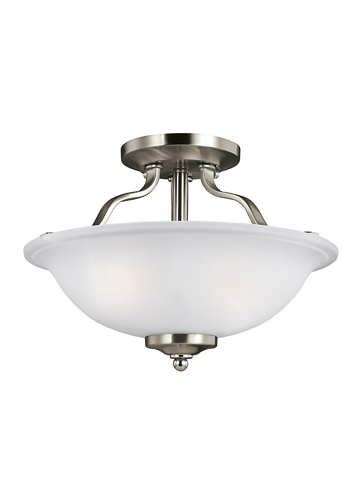 Plafonnier Emmons à deux ampoules avec abat-jour blanc, Fini argent - Energy Star