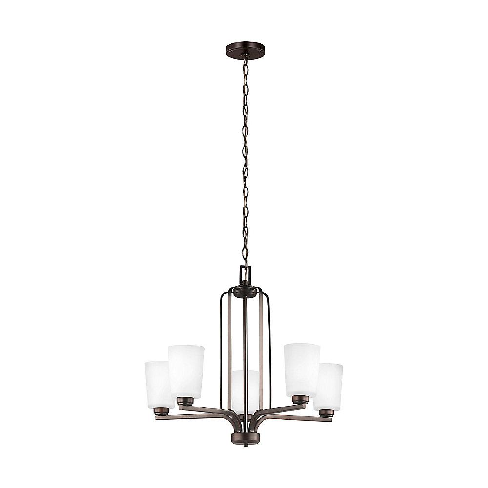 Lustre Franport à cinq ampoules avec abat-jour givré, finition de spécialité