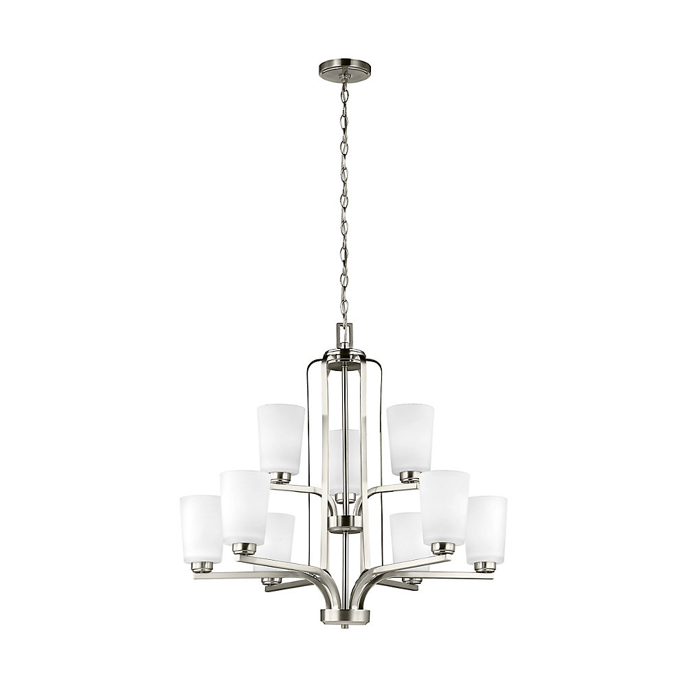 Franport 9-Light Brushed Nickel Chandelier with Etched and White Inside Glass - Energy Star