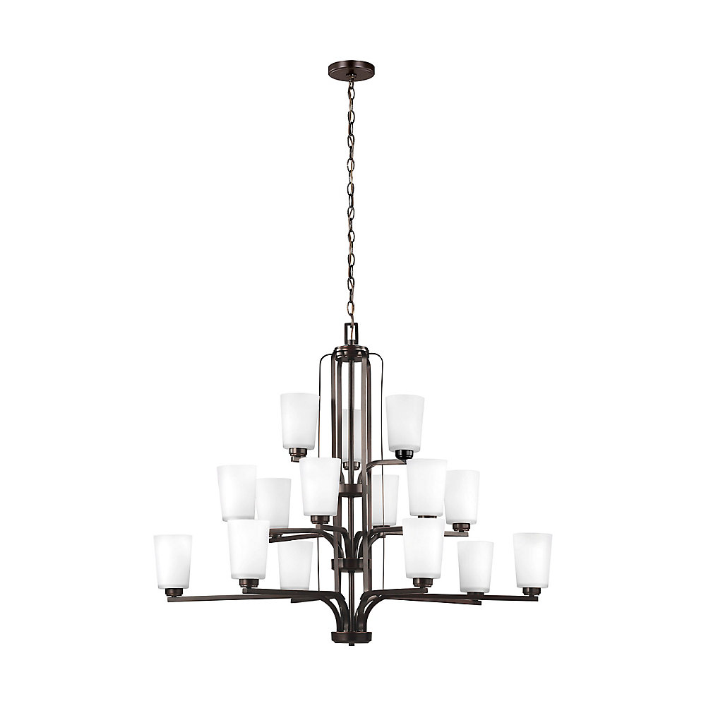 Franport 15-Light Burnt Sienna Chandelier with Etched and White Inside Glass