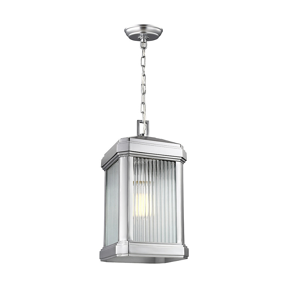Gaelan 1-Light Painted Brushed Nickel Outdoor Pendant with Clear Ribbed Glass