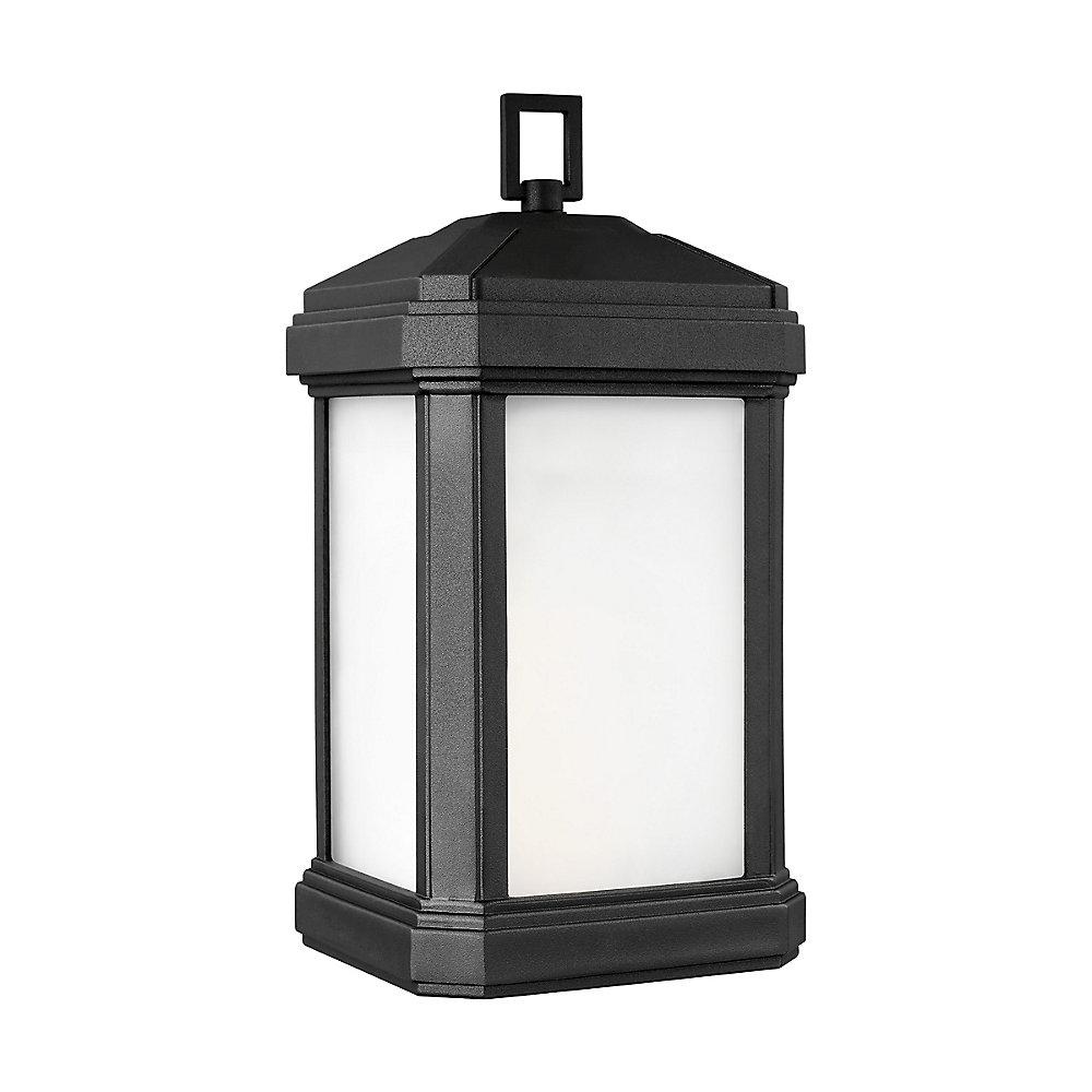 Lumière Gaelan fixée au mur à une ampoule avec abat-jour blanc, Fini noir - Energy Star