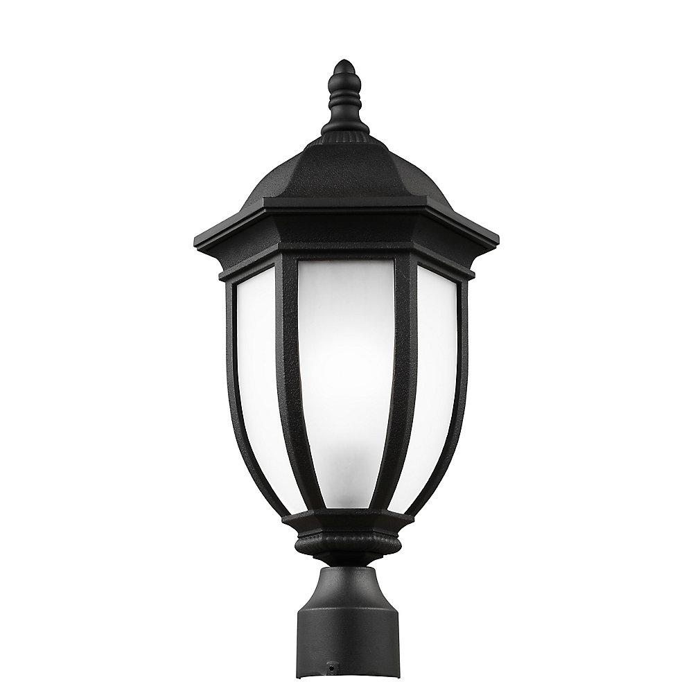 Pilier monture lumière Galvyn à une ampoule avec abat-jour blanc, Fini noir