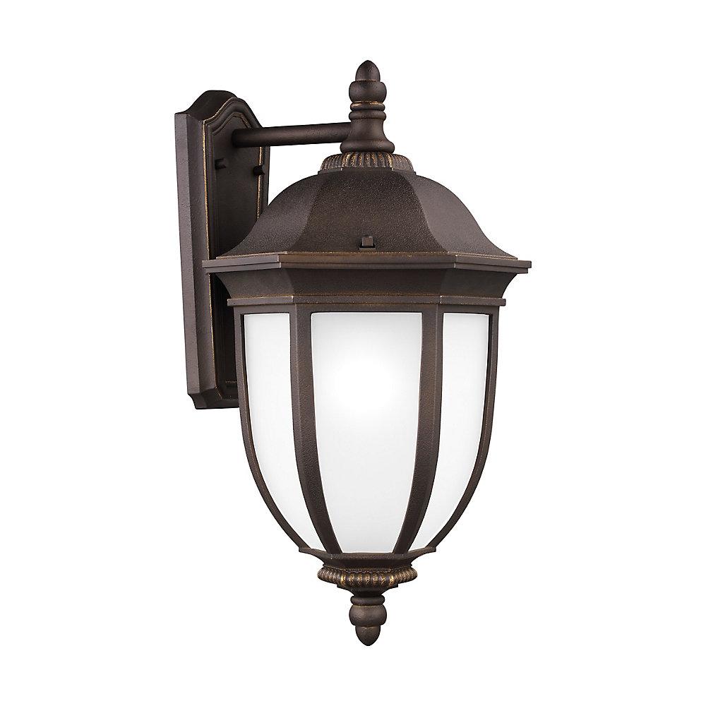 Lumière Galvyn fixée au mur à une ampoule avec abat-jour blanc, Fini bronze - Energy Star