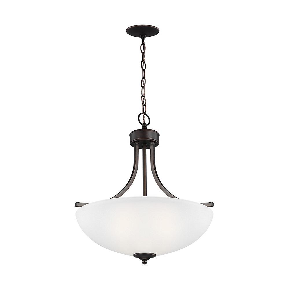 Lustre Geary à trois ampoules avec abat-jour blanc, finition de spécialité - Energy Star, 18.625 inches