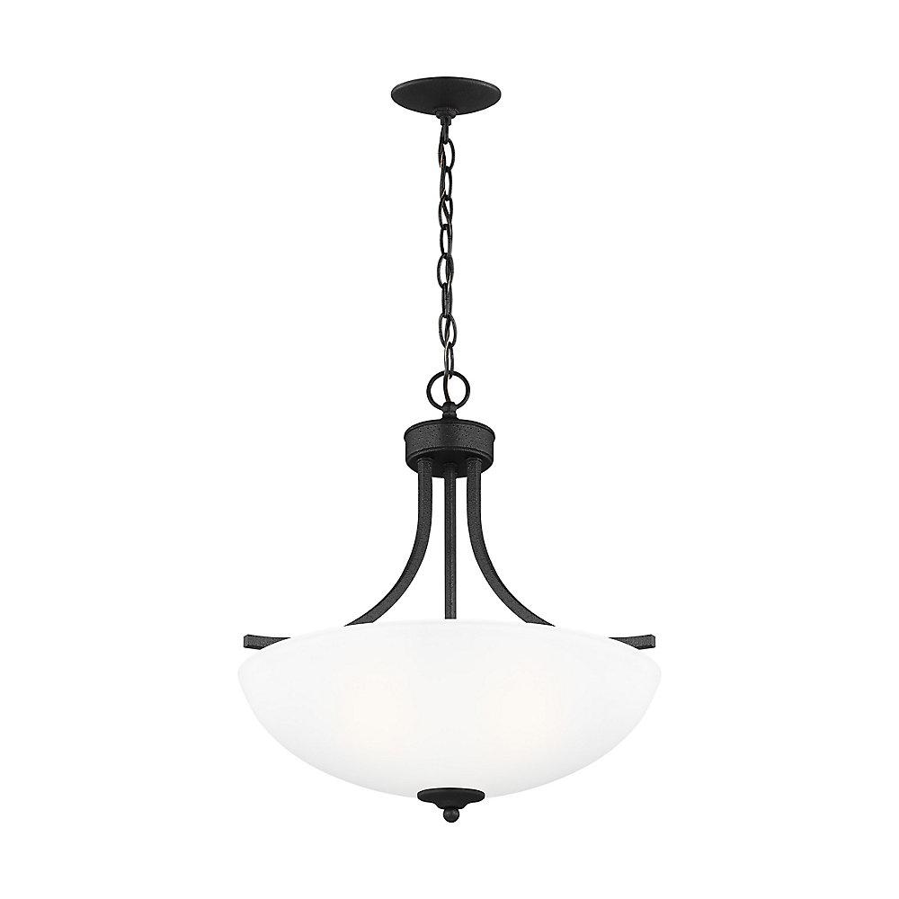 Lustre Geary à trois ampoules avec abat-jour blanc, Fini noir - Bulb Included