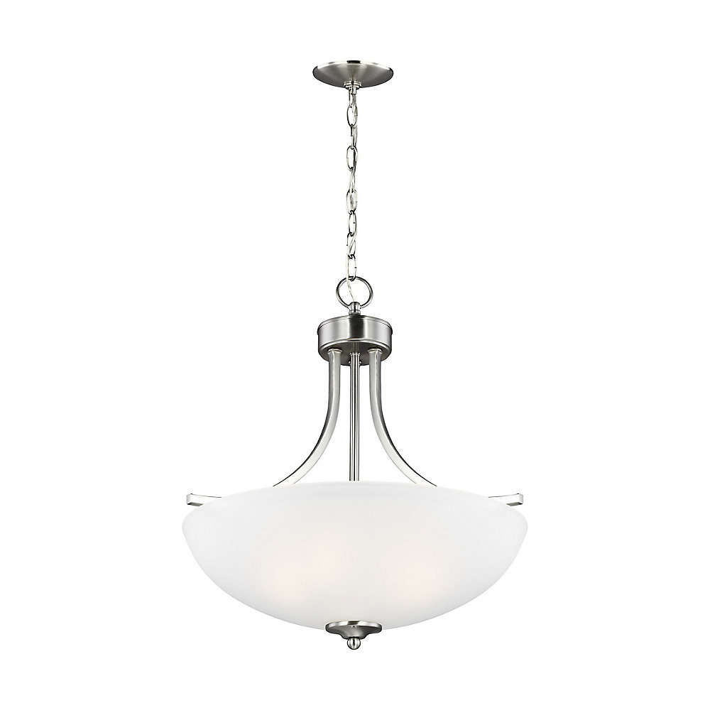 Geary 3-Light Brushed Nickel Pendant with Satin Etched Glass Shade - Energy Star