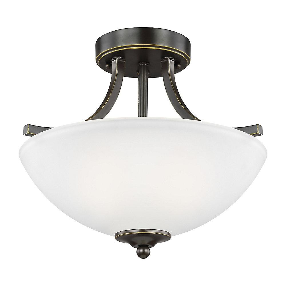 Lustre Geary à deux ampoules avec abat-jour blanc, Fini bronze