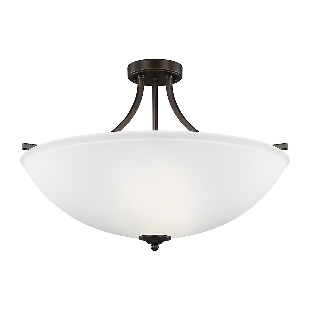 Geary 4-Light Burnt Sienna Convertible Pendant with Satin Etched Glass Shade - Energy Star